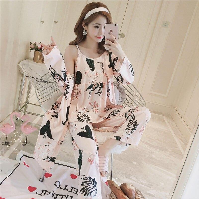 3PCS Sexy   Pajama     Sets   for Women 2019 Spring Autumn Long Sleeve Robes Floral Print Sleepwear Pyjama Homewear Pijama Mujer Clothes