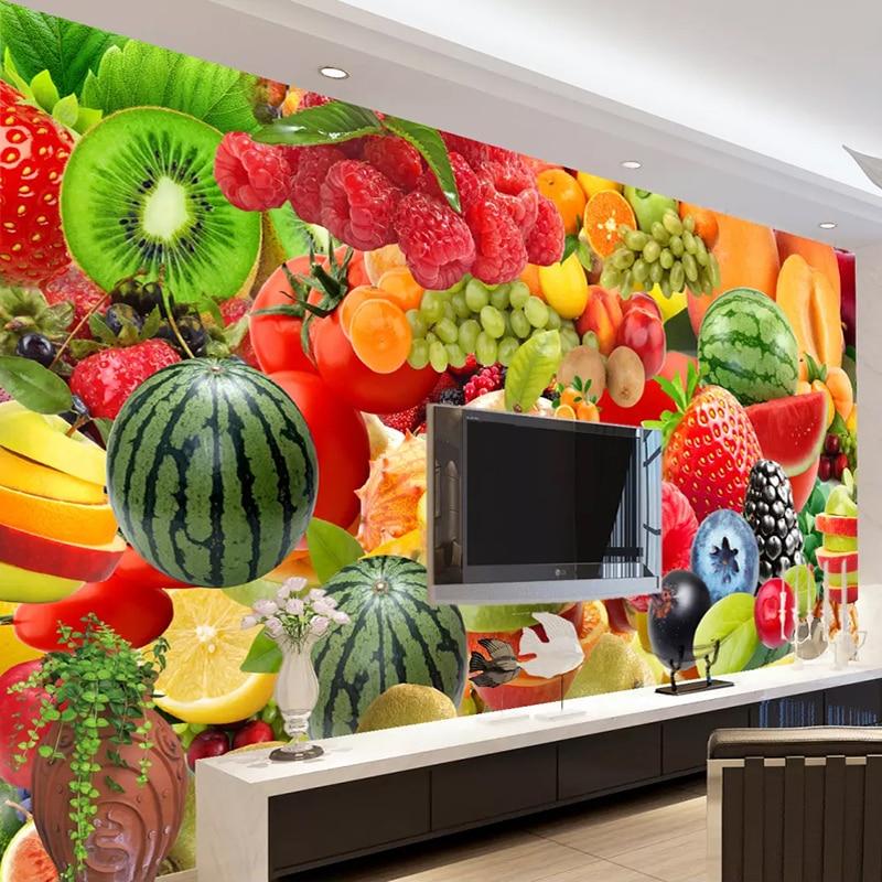 Custom Size 3D Wall Mural Wallpaper For Walls Papel De Parede 3D Kitchen Restaurant Fruit Shop Background Decor Photo Wall Paper