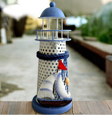 071101 Mediterranean style blue and white shell fish net beacon decorative tin candlestick furnishing articles