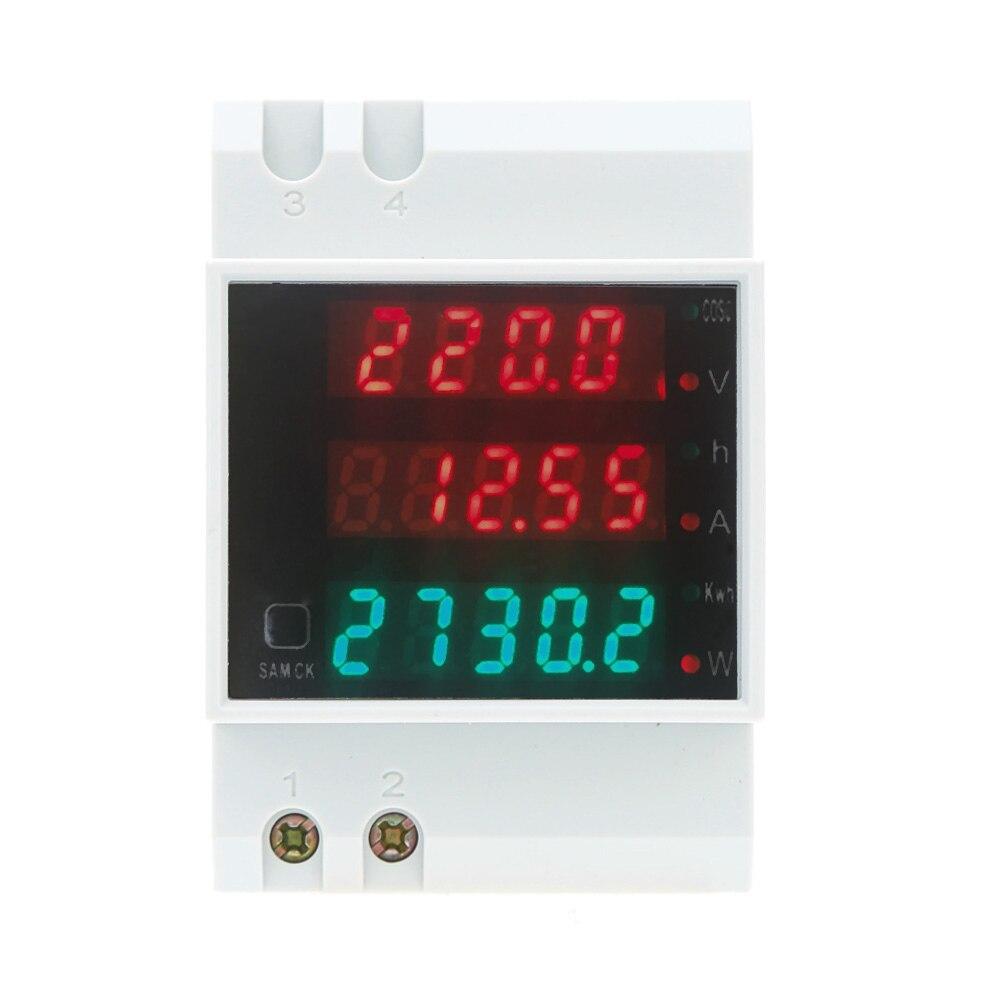 Din Rail Digital AC 80-300V 0-100.0A LED Voltmeter Ammeter Display Active Power Factor Energy Meter Voltage Volt Current Meter