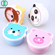 WHISM Portable Bento Box Kawaii Plastic Double Layer Microwave Oven Lunch Box Food Container Dinnerware for Kids Student Adults