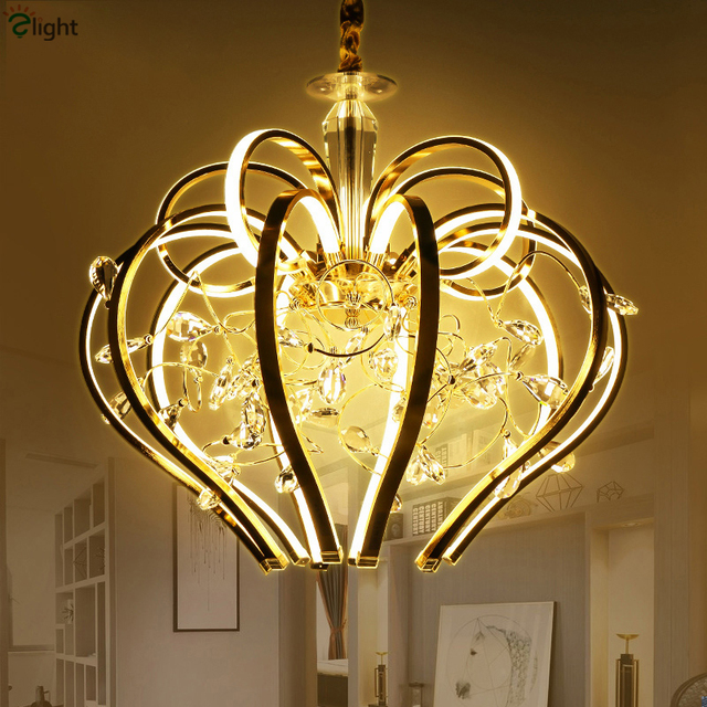 Post Modern Plate Gold Curved Metal Led Pendant Light Re Cristal Luminaire Suspension Indoor