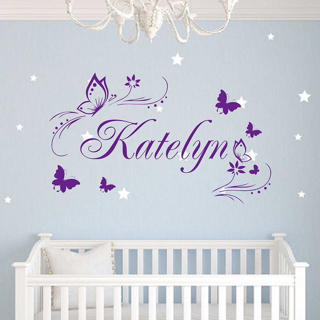 Butterflies flower personalized custom wall stickers girl name vinyl wall decal removable vinyl home decor hot