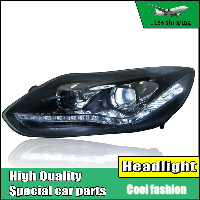 high quality Car styling Head Lamp case For Ford Focus MK3 2012-2014 Headlights LED Headlight DRL Lens Double Beam HID Xenon ownsun new style tear drop led projector lens headlight for new ford focus 2012 2013