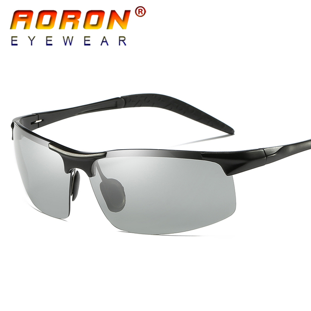 e8458c2525 AORON Marca Original HD Lentes Fotosensibles gafas de Sol Polarizadas  Hombres Que Conducían de Día y