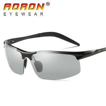 AORON Orijinal Marka HD Lens Fotokromik Polarize Güneş Gözlüğü Erkekler Sürüş Gündüz ve gece görüş gözlüğü güneş gözlüğü Gözlük