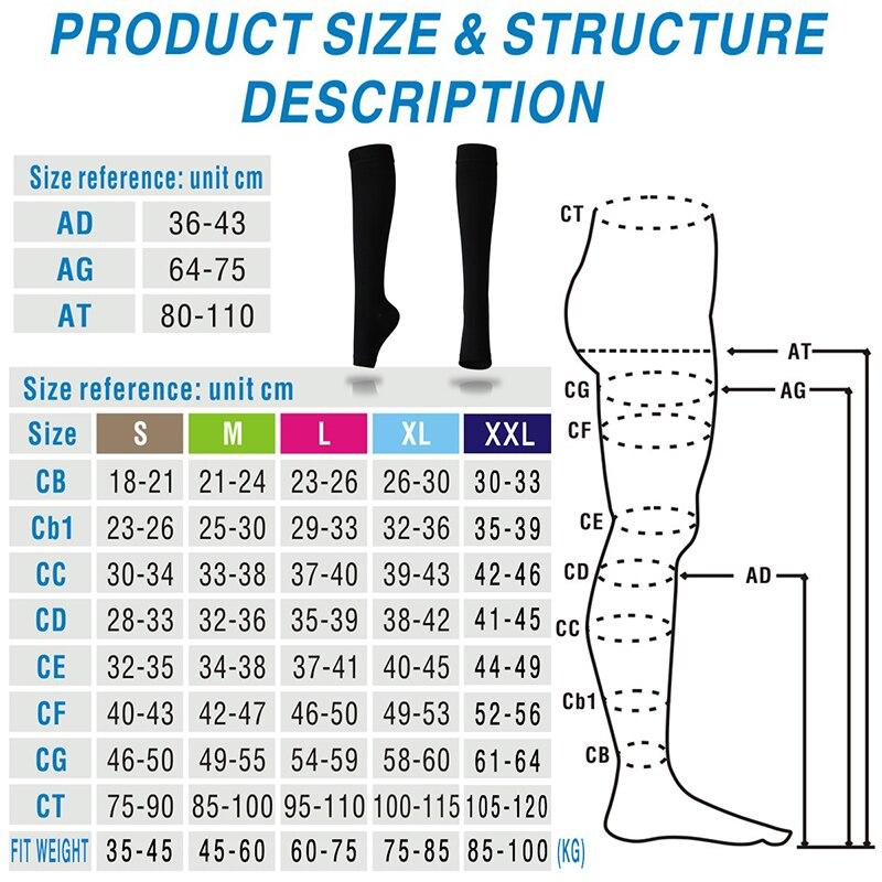77da61be620 2019 Yoga Knee High Socks With Open Toe Medical Compression 20 30 ...
