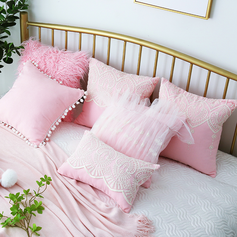 Table & Sofa Linens Sunny 45/50/60/70cm Romantic Pink Lace Cushion Cover Sofa Bed Pompom Pillow Case Square Lumbar Pillow Cover For Backrest Home Decor Catalogues Will Be Sent Upon Request