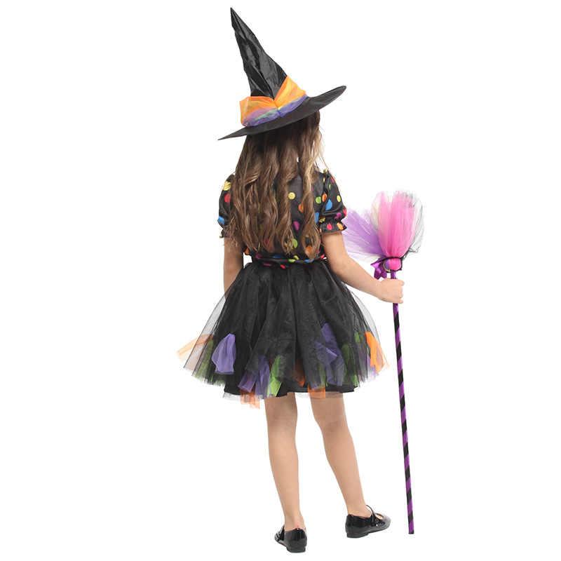 Huihonshe Berkualitas Tinggi Anak Halloween Cosplay Bermain Pakaian Anak Anime Penyihir Sihir Pakaian Anak Perempuan Gaun Penyihir