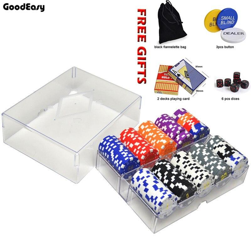 Hot 200 pcs Texas ABS or jetons de Poker ensembles + boutons de revendeur + cartes à jouer + dés + sac de flanelle Casino Pokerstars jeu de pièces de monnaie en métal
