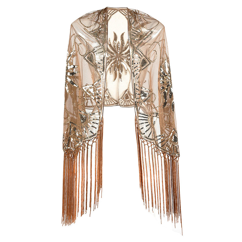 Floral Sequined Beaded Fringe Evening Wrap Scallops Party Bridal Shawl Bolero Flapper Mesh Wedding Cover Up 1920s Scarf