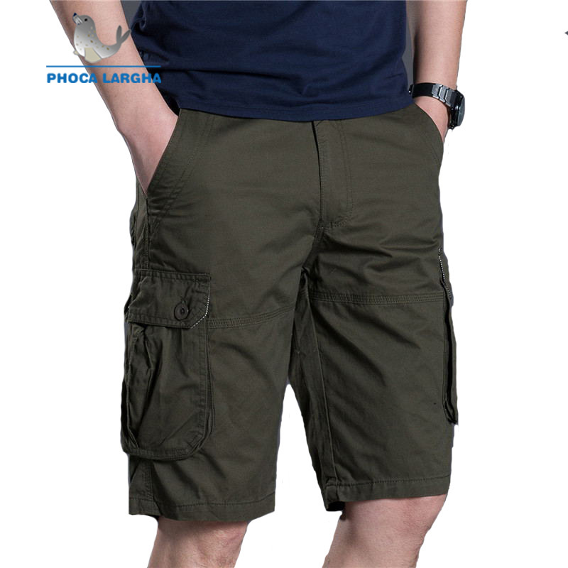New Cargo Shorts Men Summer Casual Multi-pocket Shorts Masculino Men Overall Military Solid Color Short Trousers Plus Size 38