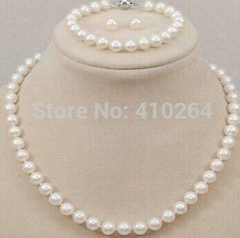 Vente chaude AA 8-9mm 9-10mm akoya blanc rose Perle Collier Bracelet Boucles D'oreilles