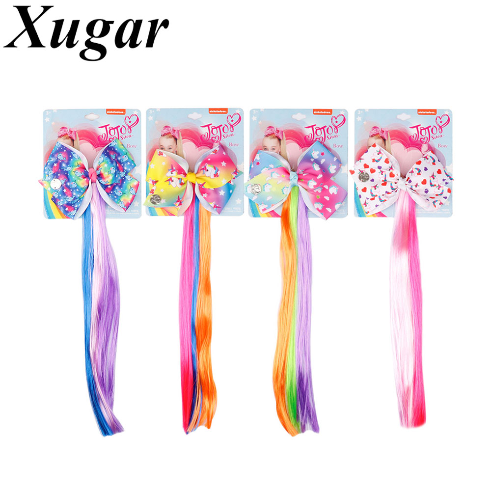 4.5 Inch Jojo Siwa Cartoon Printed Hair Bow With Ponytail Holder For Girls Cheerleading Hairbows 12 Inch Holder Hair Accessories