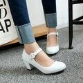 Las mujeres zapatos de moda elegante encantadora nueva Mary Janes zapatos Cuadrados Hebilla de Correa de talón de las mujeres bombea los zapatos solid plus size 43 mujer