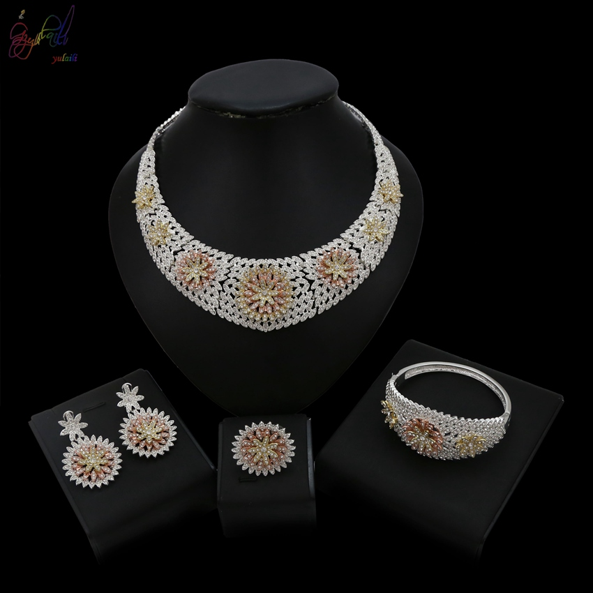 Yulaili 2018 Latest Arrival Cubic Zirconia Duabi Crystal Flower Cover Necklace Bracelet Earring Ring Jewelry Sets