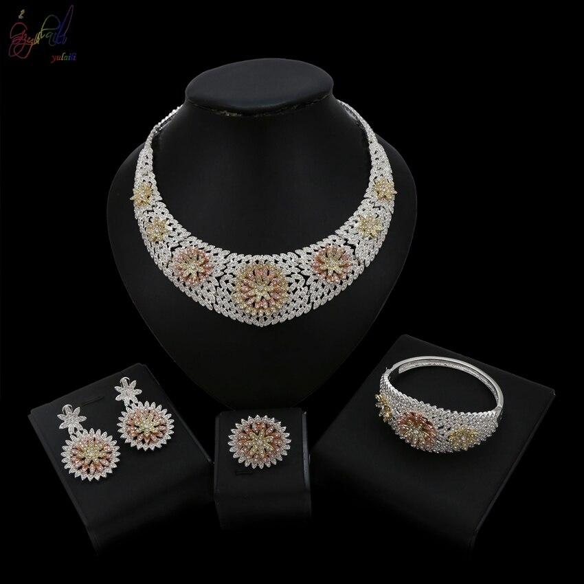 Yulaili 2018 dernière arrivée cubique zircone Duabi cristal fleur couverture collier Bracelet boucle d'oreille anneau bijoux ensembles femmes mariage