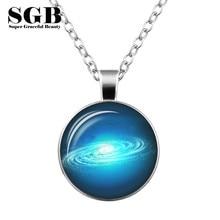Nebula Space Universe Vintage Time Gem Pendants for Women and Men Galaxy Necklace Fashion Jewlery