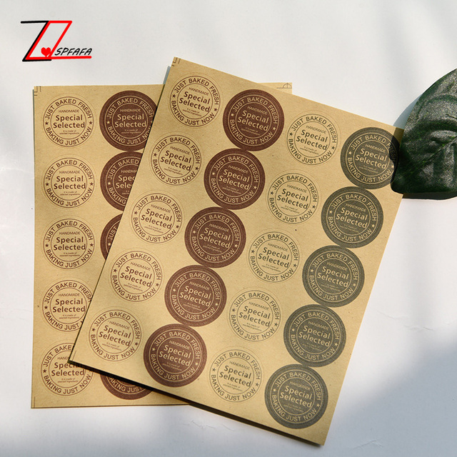 Zqspfafa vintage kraft paper stickers trendy girls envelope invitations round seal stickers 2017 fashion brand diy