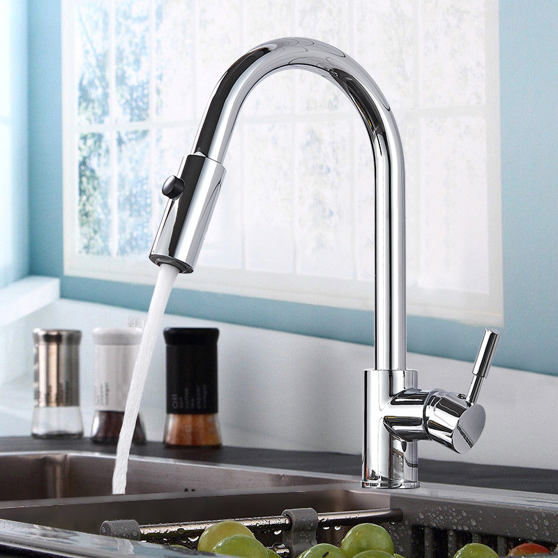 купить Chrome Polish Finish Kitchen Faucet Deck Mount Pull Out Dual Function Sprayer Hot & Cold Water Kitchen Sink Faucet Mixer Taps по цене 4227.4 рублей