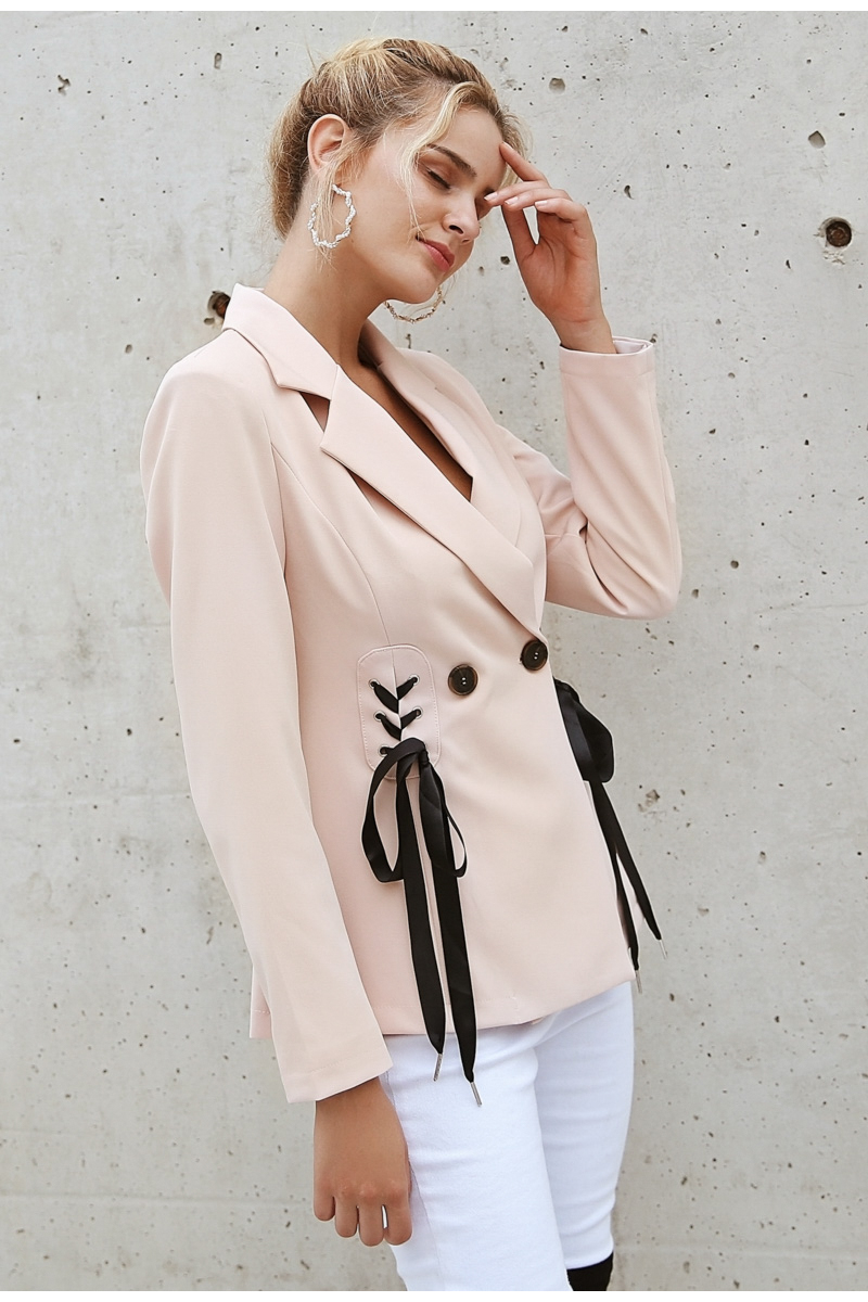 Simplee Autumn OL double breasted suit coat Elegant side tie up cool winter outwear V neck short coat office lady 2018 4