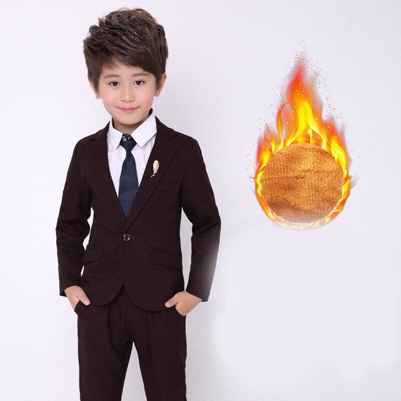 2018 new style children's fashion solid color suit jacket British wind casual boy performance performance dress suit 2pcs / set цены
