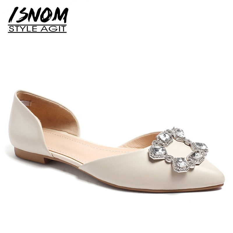 ISNOM   Leather   Flat Women Pointed Toe Crystal Buckle Footwear Kid   Suede   Shoes Female Shallow Dress Shoes Woman Spring 2019 New