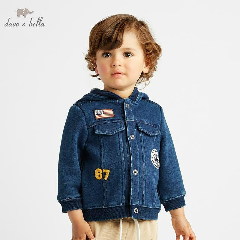 DB8475 dave bella autumn winter baby boys dark blue jacket children fashion outerwear kids coat