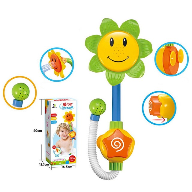 Bathroom Toys Children Sunflower Showerhead Toy Play In The Water Swimming Bath Baby Shower Kid