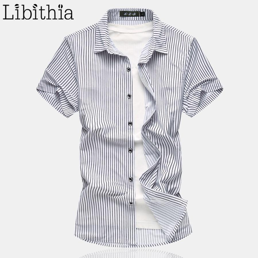 Mens Cotton Striped Loose Dress Shirts Short Sleeve Big Size M 7xl
