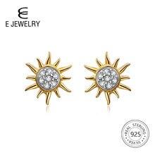 E Jewelry 18K Gold Plated 925 Sterling Silver Sun Flower Stud Earrings for Women Girls Korean Studs Earings Fashion