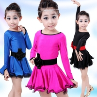 Children S Long Sleeve Lace Latin Gymnastics Dance Girls Dress Tutu Leotard Skate DressesO Utfits Performance