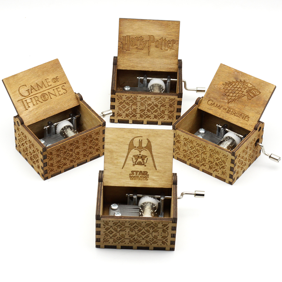 Antique Engraving Star Wars Music Box Game Throne Music Box Harry Potter Hand Crank Theme Music