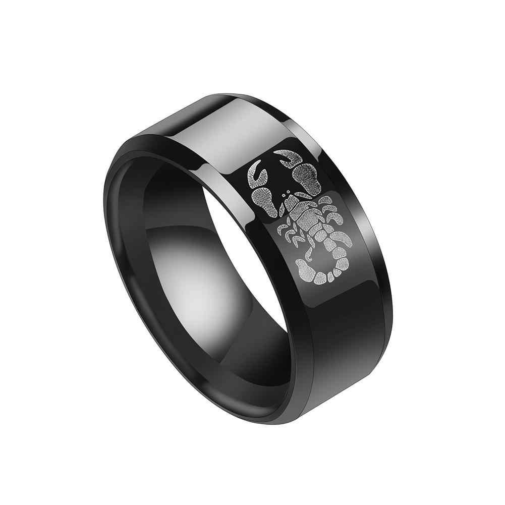 Mode alliage hommes anneau Cool gothique Hip Hop Scorpion Lion motif bijoux bande mode