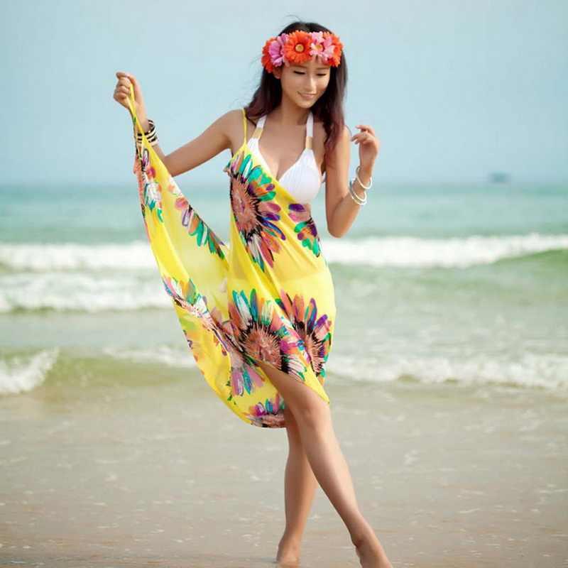 Calofe Wanita Cover Up Bikini Wanita Pengantin Baju Renang Cover Seksi Gaun Pantai Berenang Pantai Sifon Wanita Tunik Backless Panjang Gaun