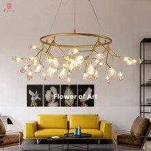 Lámpara colgante Firefly, luces colgantes de rama de olivo, LED decorativo de arte para el hogar, pétalo de estilo europeo AC110/220V, vestíbulo, comedor