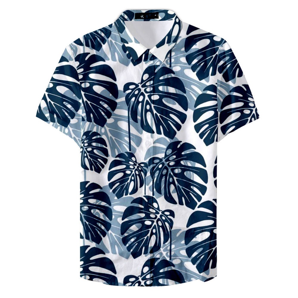 2019 Summer Hawaiian Shirt Leaf Sea Forest Style Casual Male Printed Shirt Full Size