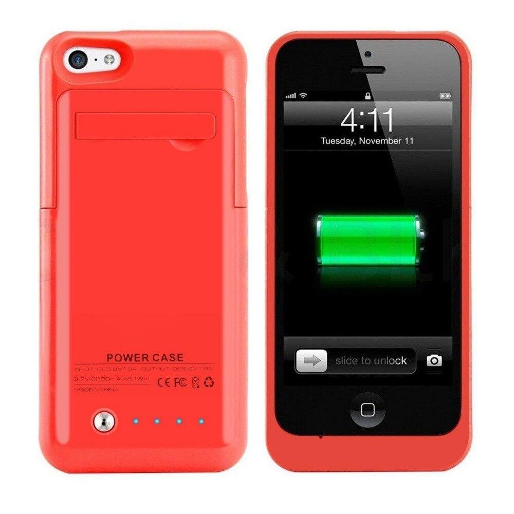 imágenes para Para iPhone5 5C 5S SE 2200 mAh Recargable de la Caja de Color Rosa Delgado Caso Del Cargador de Batería externa Más 8 pin cable Regalo Libre Includ