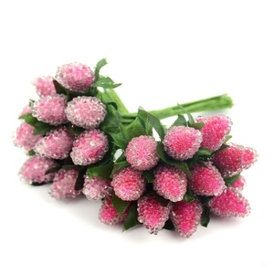 Image 3 - 12pcs Artificial Glass Berries Fruit Red Cherry Plastic Fruits For Home Wedding Decoration Fake Strawberry Mulberry Flower