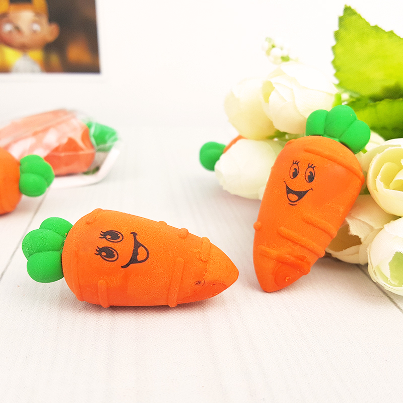 2X Kawaii Cartoon Carrot Decoration Model Eraser Eraser Rubber Stationery Kid Gift Toy Pupils  School Office Stationery