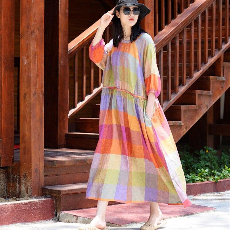 SCUWLINEN Vestidos nuevo 2019 Mujer Plus tamaño vestido de verano vestido Casual colorido Plaid cordones Vestido largo de lino playa suelto Vestidos S943-in Vestidos from Ropa de mujer    1
