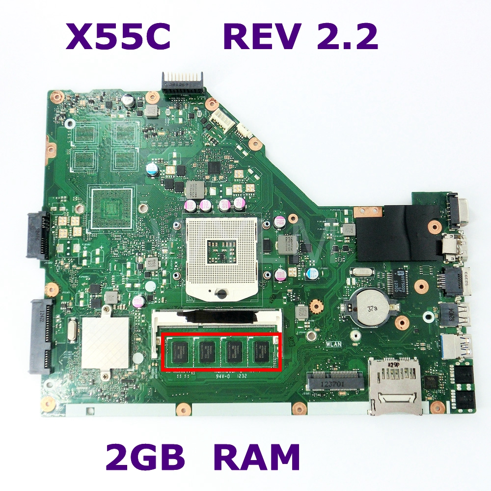 цена на X55C 2GB RAM Mainboard REV 2.2 For ASUS X55C X55VD X55V X55CR Laptop Motherboard SLJ8E HM76 DDR3 100% Tested Free Shipping