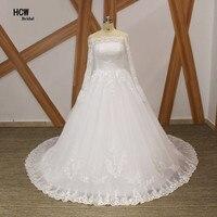 Long Sleeve Wedding Dresses 2018 Boat Neck Floor Length Elgenat Lace Tulle White Princess Wedding Dress Lace Up Back Bridal Gown
