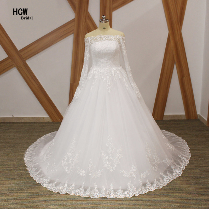 Gaun Perkahwinan Lengan Panjang 2019 Bot Leher Panjang Lengan Elgenat Lace Tulle Putih Puteri Perkahwinan Pakaian Renda Up Kembali Pengantin Gaun