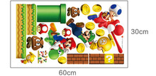 [Saturday Monopoly] new pvc Super Mario Bros Wall Sticker Home Decor For Kids Rooms children's decals stickers games free mario
