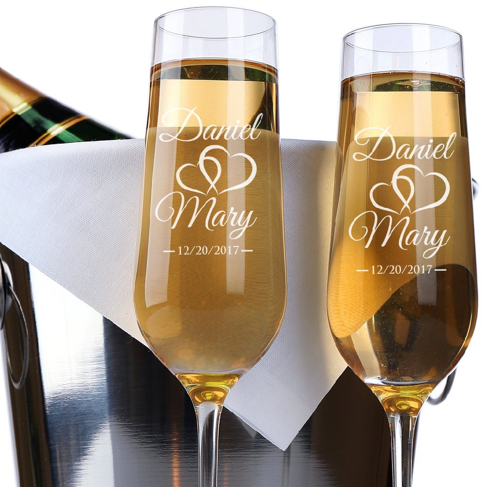 Wedding Gift Champagne Flutes: 2pcs Personalized Name And Date Champagne Flutes Glasses