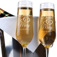 2pcs Personalized Name And Date Champagne Flutes Glasses,Double Hearts Bride and Groom Toasting Champagne Glasses,Wedding Gift