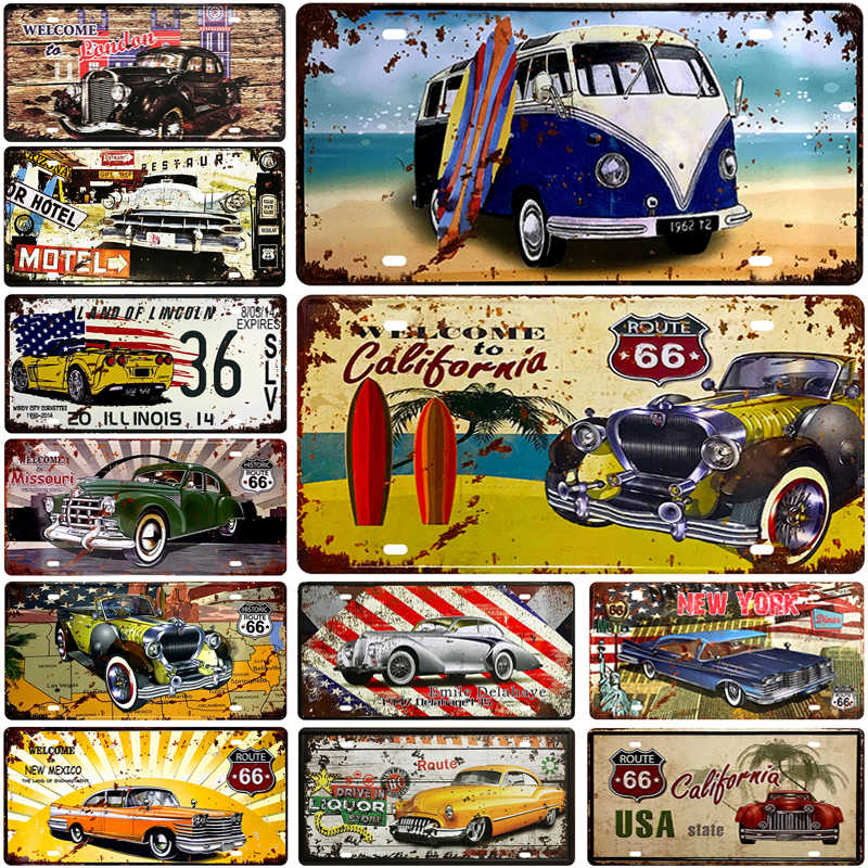 Bus Number Car Metal License Plate Plaque Metal Vintage Tin Sign Metal Signs Vintage Bar Decoration Metal Poster Pub Pin Up