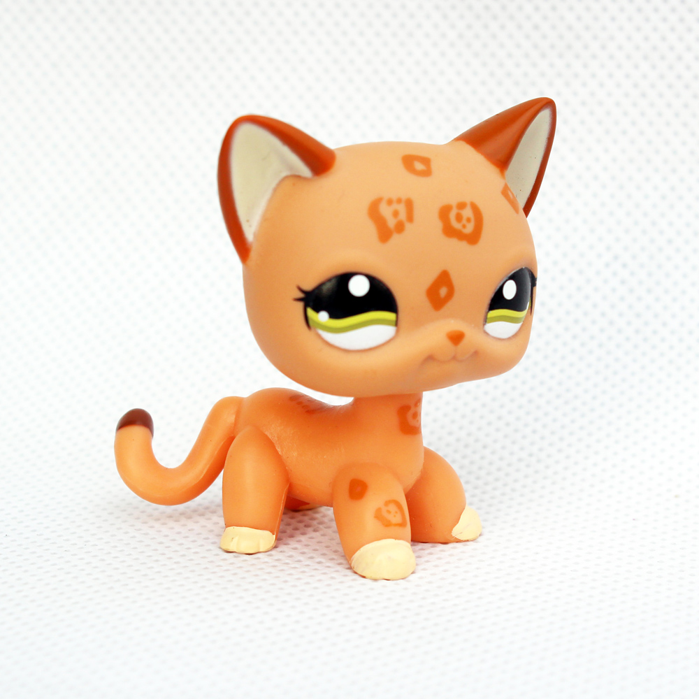 Pet Shop Toys Rare Animal  Standing Short Hair Cat #1120 Orange Spotted Leopard Cheetah Kitty Child Gifts