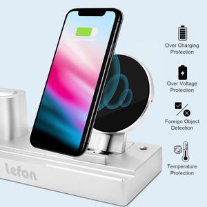 Image 2 - Estación de carga inalámbrica de Lefon Qi para iPhone Samsung Smartphone soporte de cargador de aluminio para Airpods Apple Watch Pencil